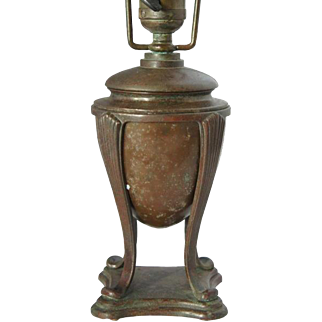 American Tiffany Studios Bronze Small Urn Shape Table Lamp Base