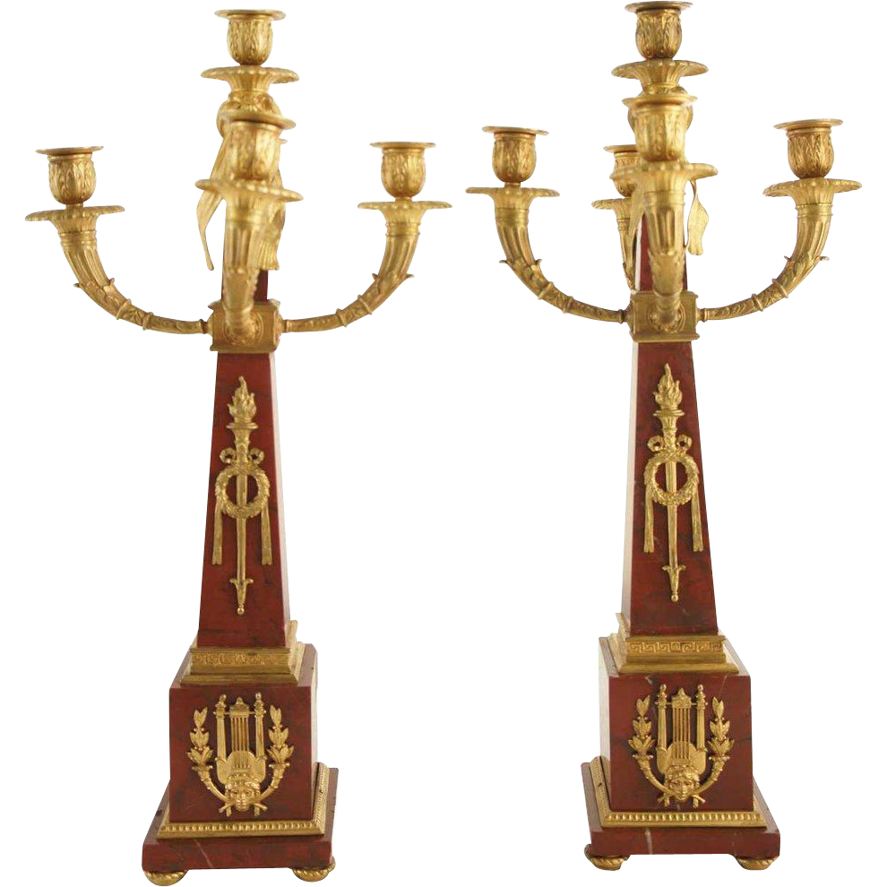 Pair of French Marble and Gilt Bronze Five-Light Candelabra