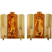 Pair of Swedish Mjolby Intarsia Marquetry and Brass Two-Light Sconces