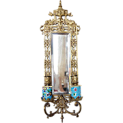 Rare American Bradley & Hubbard Brass and Longwy Faience Mirrored Two-Light Sconce