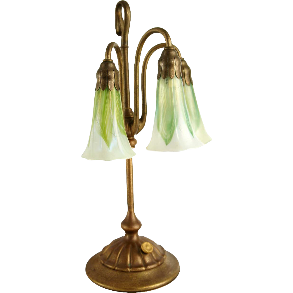 American Tiffany Studios Three-Light Lily Table Lamp and Shades