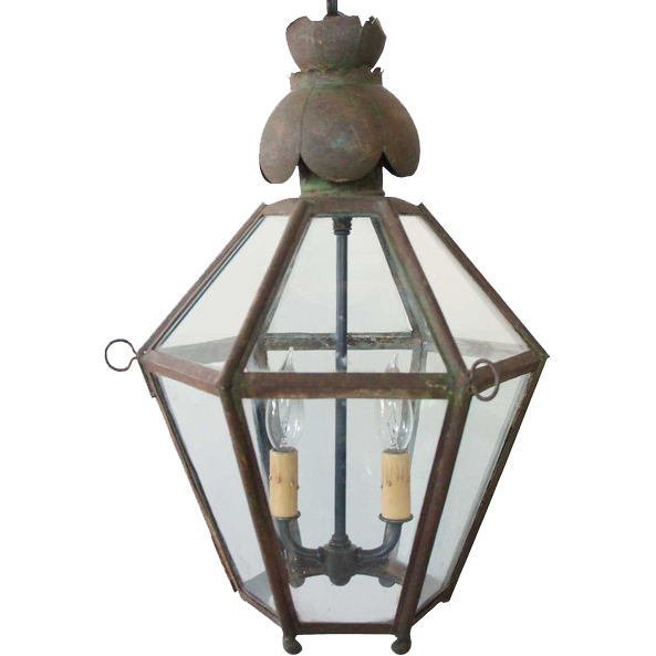 Antique English Toleware Hanging Lantern