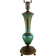 American Durand Art Glass King Tut Style Table Lamp