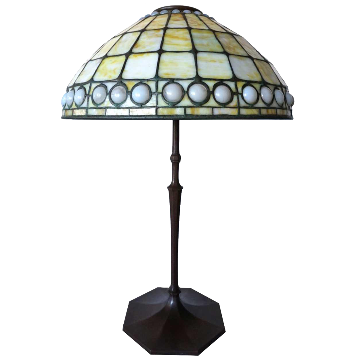 "American Signed Tiffany Studios Favrile Glass Opalescent Jewelled 16"" Table Lamp Shade"