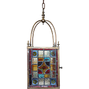 English Eastlake Stained and Leaded Glass Brass Hanging Hall Lantern