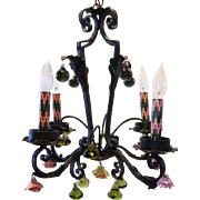 Argentine Wrought Iron and Italian Glass Four-Light Chandelier