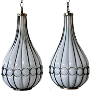 Pair of American Mid Century Modern Brass and Glass Onion Form Pendant Lights