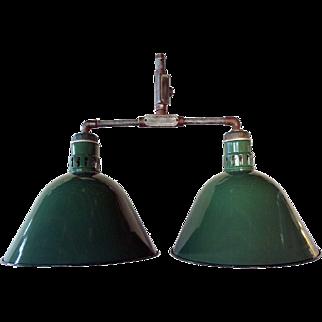 Vintage American Appleton Industrial Green Porcelain Double Hanging Lamp
