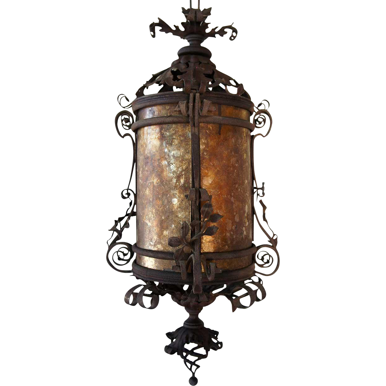 American Fancy Wrought Iron and Mica Hanging Lantern