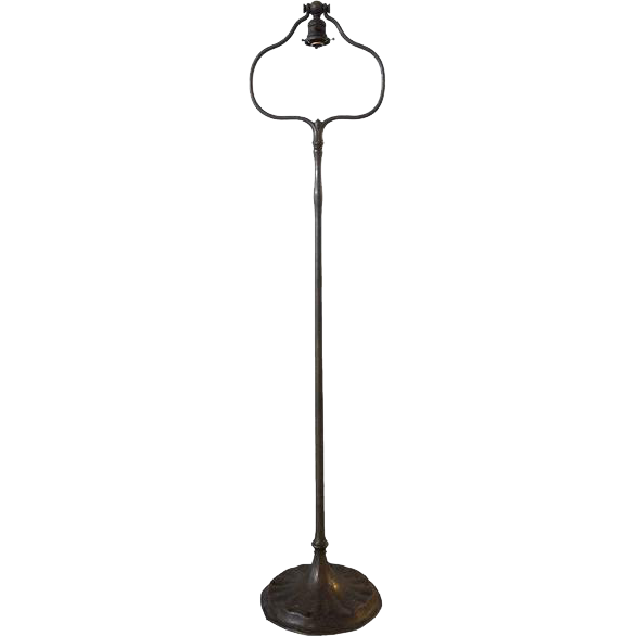 American Tiffany Studios Art Nouveau Bronze Dore Harp Floor Lamp Base