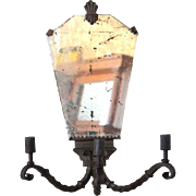 Art Deco Mirrored Iron Three-Light Wall Sconce