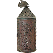 American Punched Tin Toleware One-Light Lantern