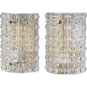 Pair of Swedish CARL FAGERLUND for Orrefors Glass Sconces