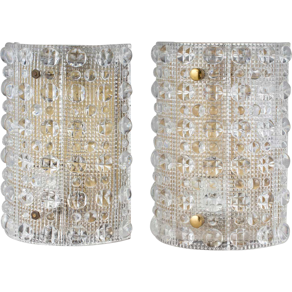 Pair of Vintage Swedish CARL FAGERLUND for Orrefors Cast Glass Wall Sconces