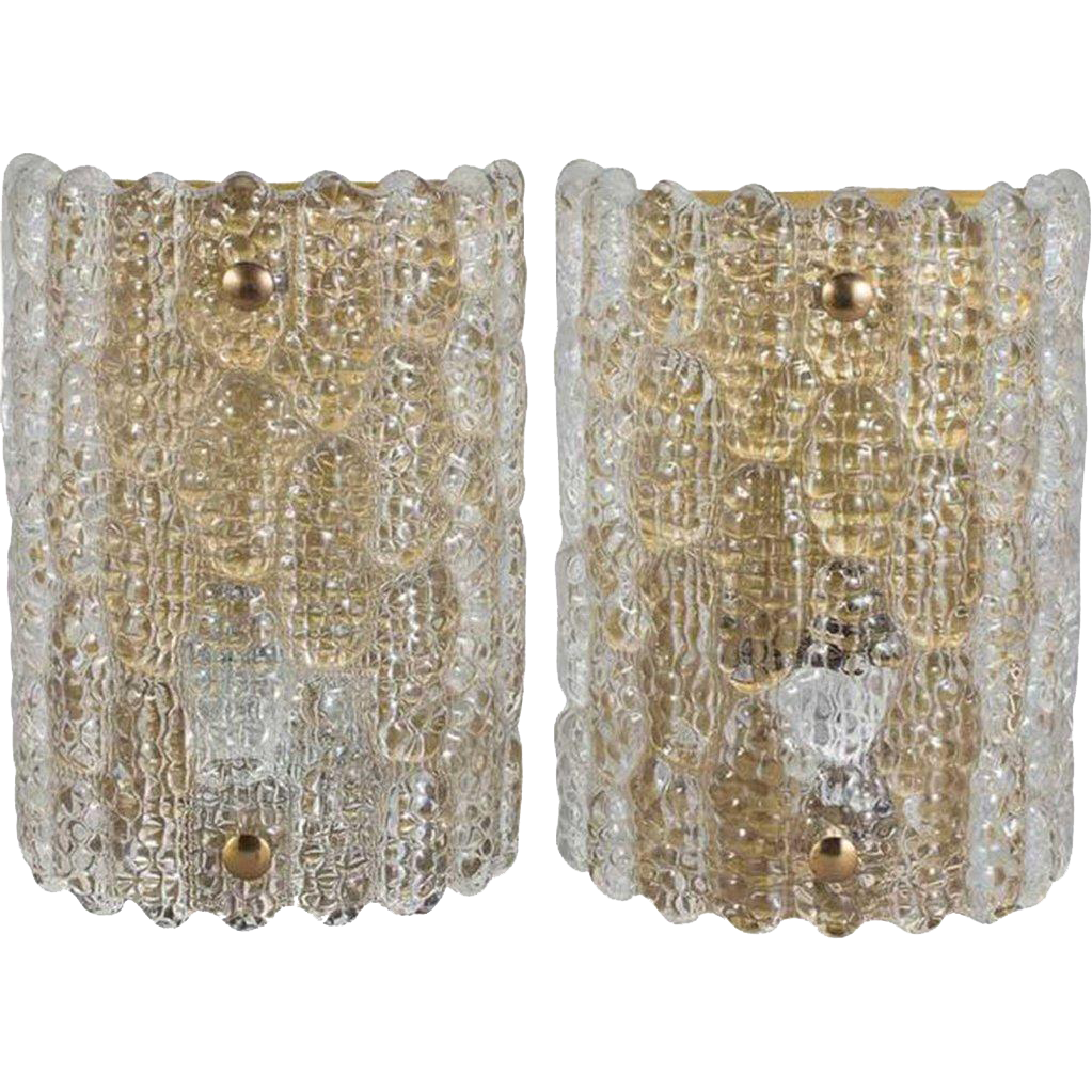 Pair of Swedish CARL FAGERLUND for Orrefors Cast Glass Wall Sconces