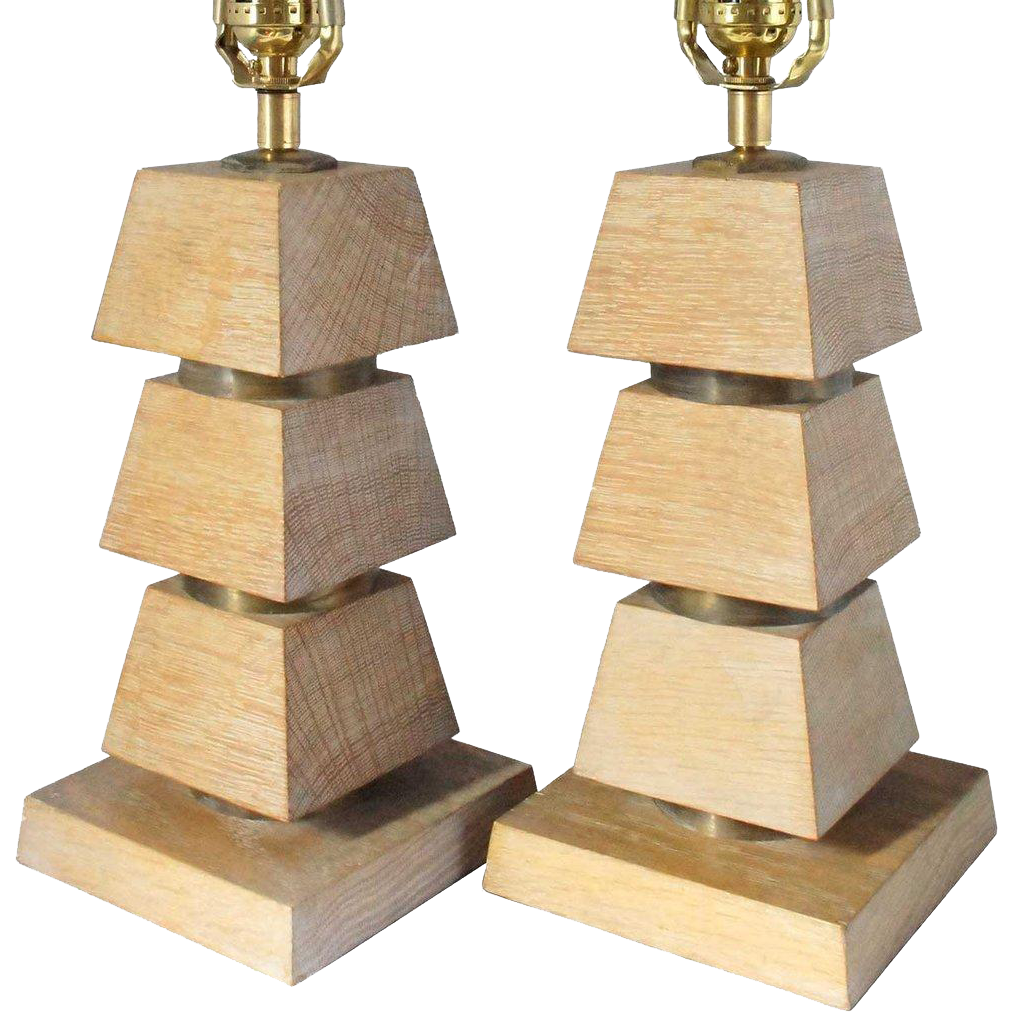 Pair of American Mid Century Modern Limed Oak and Brass Table Lamps