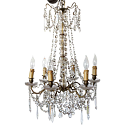 French Crystal Beaded Six-Light Chandelier