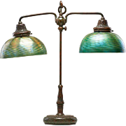 American Tiffany Studios Patinated Bronze Favrile Glass Two-Light Desk Lamp