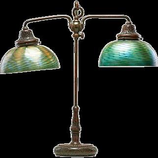 American Tiffany Studios Patinated Bronze Favrile Glass Two-Light Desk Lamp
