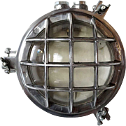 Vintage Industrial Aluminum Caged Round Wall or Ceiling Ship's Light