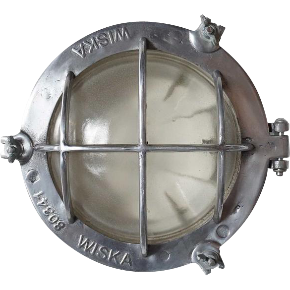 Vintage German Wiska Industrial Aluminum Round Caged Wall or Ceiling Ship's Light