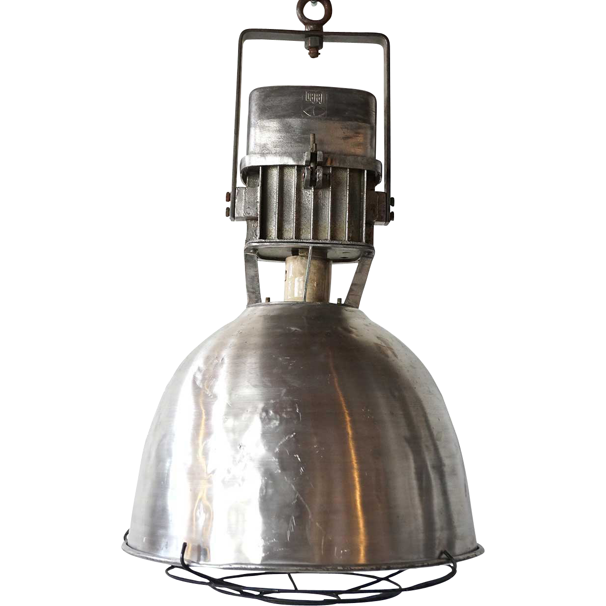 Vintage Industrial Aluminum Shade Caged Pendant Light