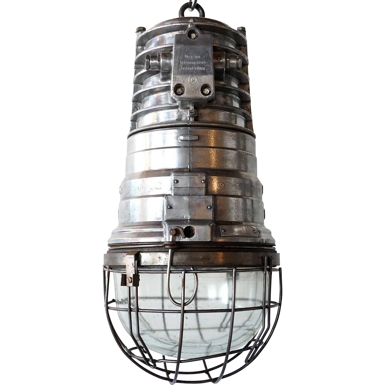 Vintage German EOW Industrial Heavy Aluminum Hanging Caged Pendant Light