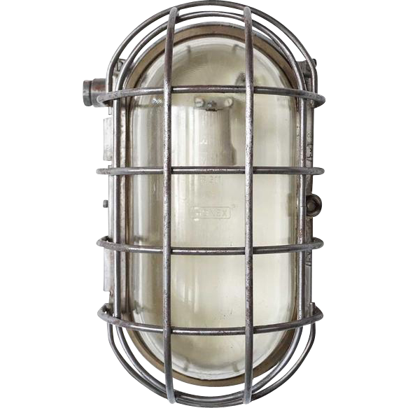 Large Industrial or Nautical Vintage Aluminum Caged Oval Wall or Ceiling Ships Light