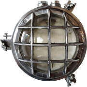 Vintage Industrial Aluminum Caged Round Wall or Ceiling Light