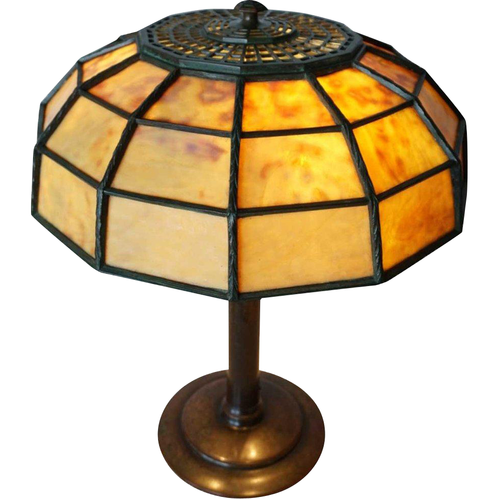 American Tiffany Studios Leaded Glass and Bronze Colonial Table Lamp