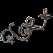 Pair of Spanish Brass One-Light Bracket Sconces