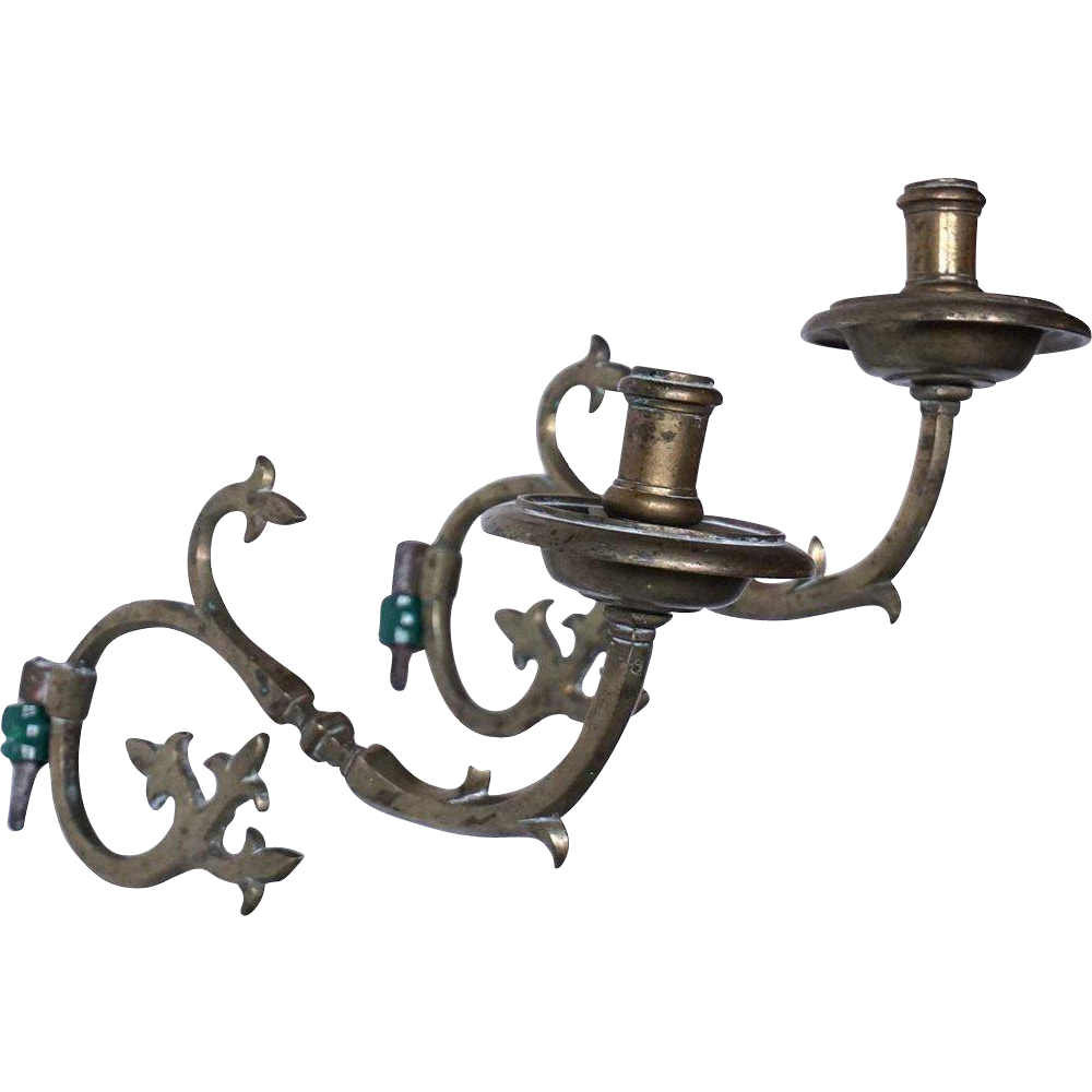 Pair of Spanish Brass One-Light Bracket Sconces