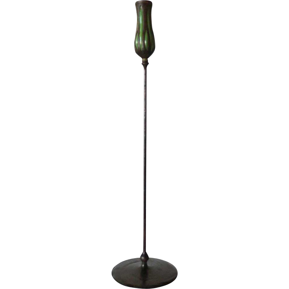 American Tiffany Studios Reticulated Glass Patinated Bronze Candlestick
