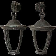 Pair of American Bronze Hanging Wall Bracket Lanterns