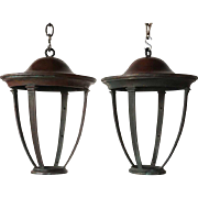 Pair of American Patinated Bronze Hanging Lanterns