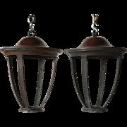 Pair of American Patinated Bronze Hanging Lanterns
