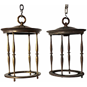 Pair of American Brass Hanging Lanterns