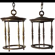 Pair of American Brass Hanging Lanterns