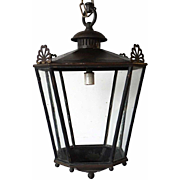 English Heavy Patinated Bronze Hanging Lantern