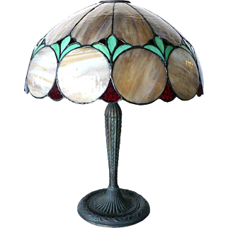 American Standard Art Glass and Edward Miller Leaded Glass Shade Two-Light Table Lamp