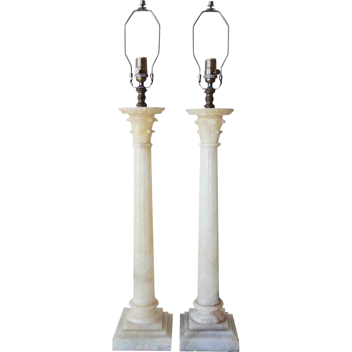 Pair of Vintage Neoclassical Tall Alabaster Column Form Table Lamps
