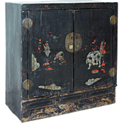 Small Chinese Black Lacquered Side Cabinet