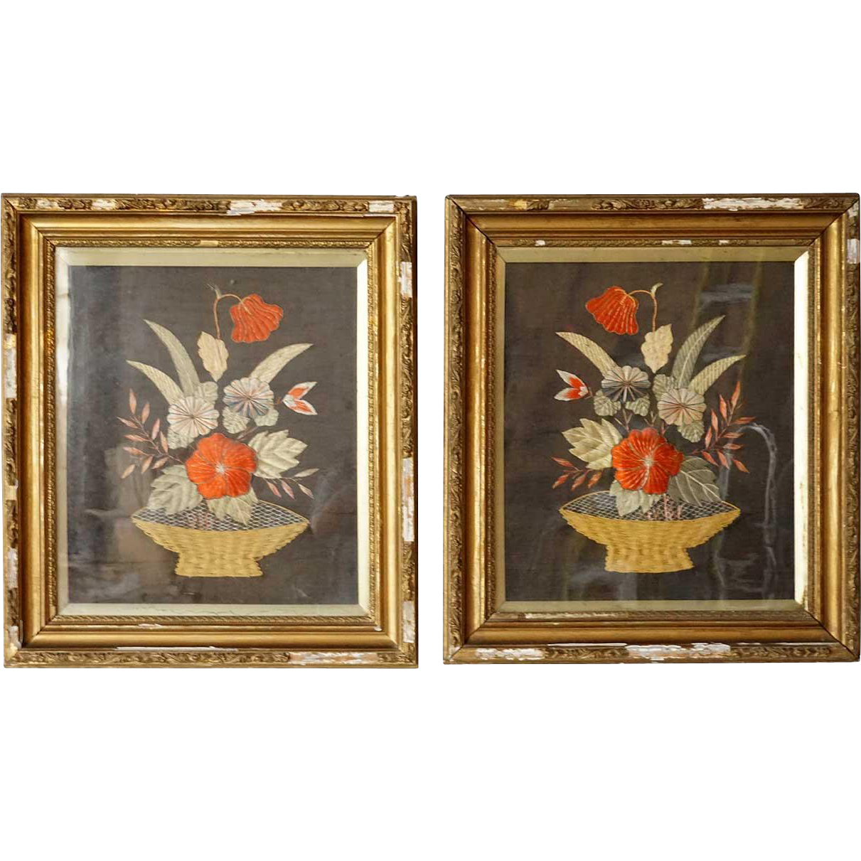 Pair of English Victorian Stumpwork Embroidery Panels