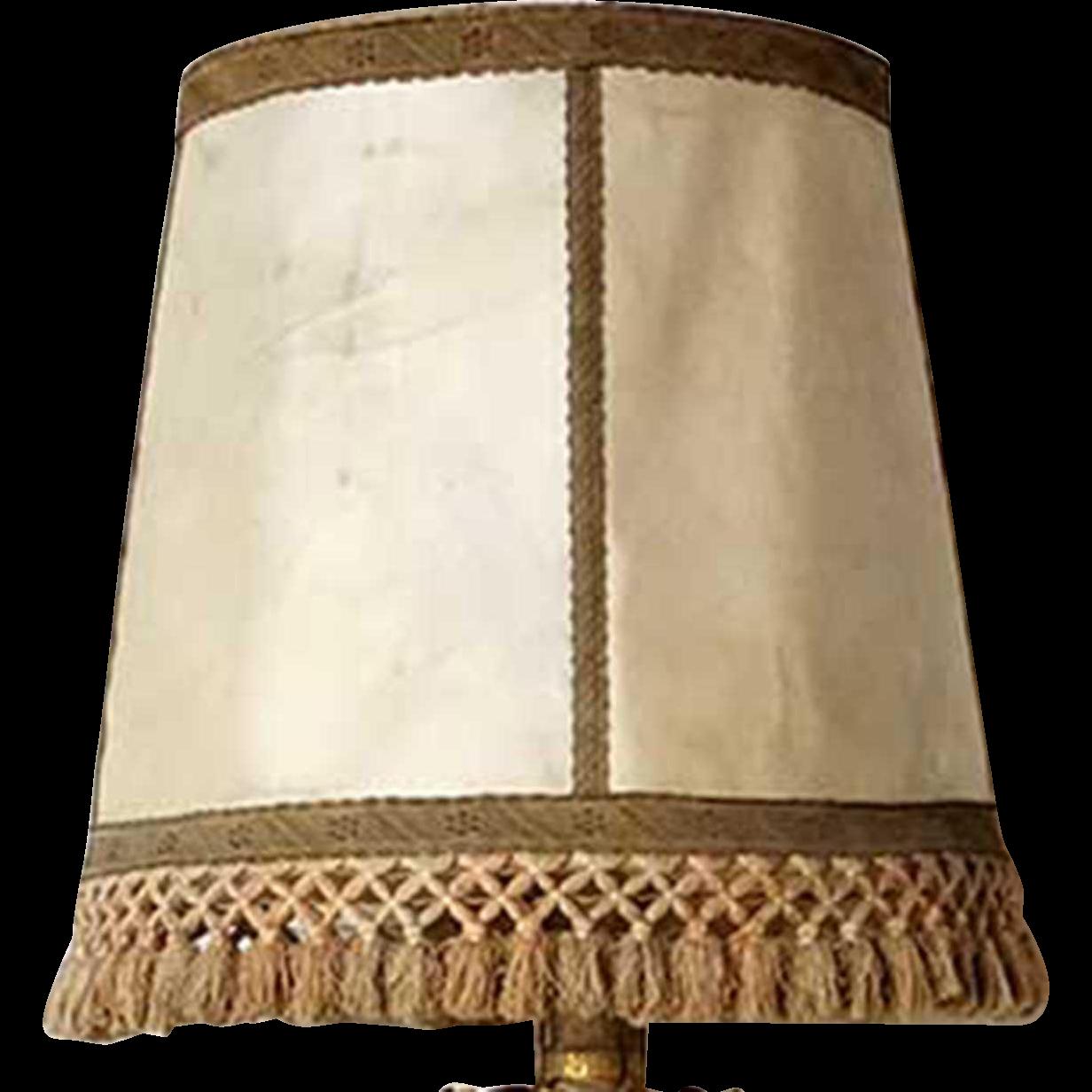 Large Spanish Raw Hide Lamp Shade with Fringe
