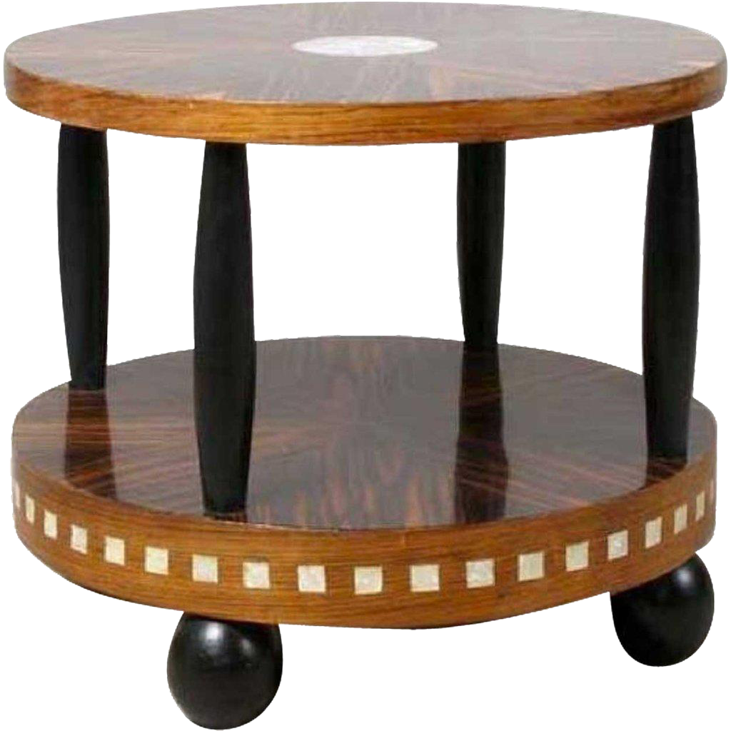 Art Deco Calamander and Rosewood Veneer Cocktail Table