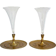 Pair of French Belle Epoque Etched Glass and Gilt Bronze Trumpet Vases