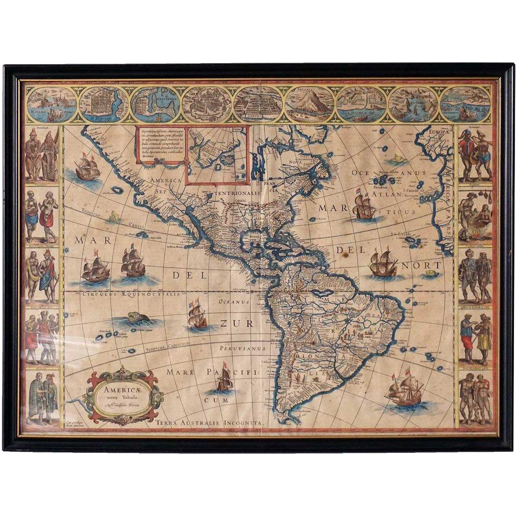 WILLEM BLAEU Engraved and Hand Colored Map of the Americas