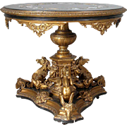 Italian Florentine Pietra Dura and Giltwood Center Table