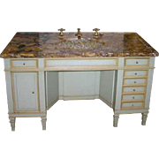 American Belcaro Mansion Bronze Mounted Onyx Sink and Painted Vanity
