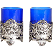 Pair of Dutch Hooijkaas Silver and Cobalt Glass Mustard Pots